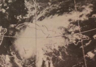 El ciclón Alma en el Caribe el 20 de mayo de 1970. Imagen del satélite: Environmental Science Services Administration (ESSA), precursora de la NOAA.