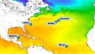 Puntos donde se originaron tormentas tropicales y subtropicales entre el 25 de mayo y el 15 de agosto de 2018.v