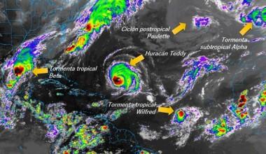 Varios sistemas activos en la tarde del 18 de septiembre de 2020. Imagen del satélite GOES-16/College of DuPage.