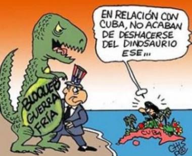 Caricatura sobre el bloqueo de Estados Unidos contra Cuba