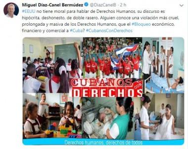 Twitter de Díaz-Canel sobre Derechos Humanos