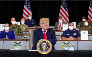 Donald Trump, presidente de EEUU, en una rueda de prensa en la sede del Comando Sur en Doral, Florida, este 10 de julio de 2020. Foto: Reuters