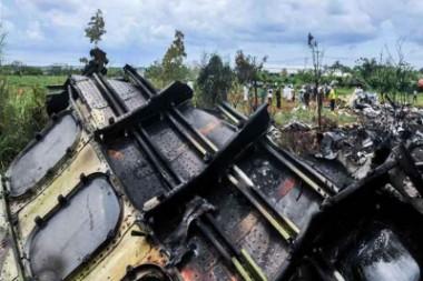 Restos del accidente aéreo ocurido en La Habana
