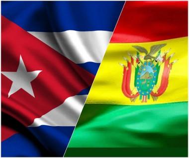 Banderas de  Cuba y Bolivia