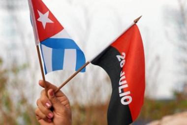 Bandera cubana y del 26 de juliio