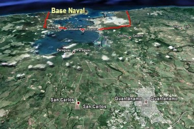 Mapa donde se ubica la Base Naval de Guantánamo