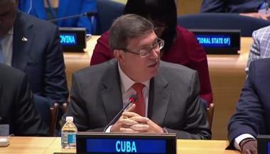 Canciller cubano Bruno Rodríguez Parilla en evento de Naciones Unidas en solidaridad con países afectados por huracán Irma. Foto: @CubaMINREX / Twitter