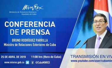 cartel sobre la conferencia de prensa que ofrecerá el Canciller cubano