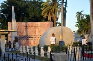 Monolito de granito donde reposan las cenizas del lider histórico, Fidel Castro.