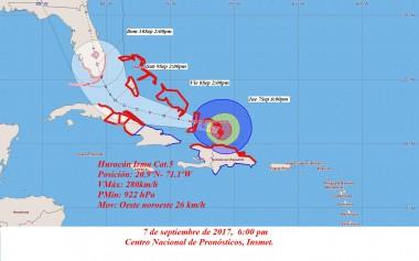 Cono de probabilidades del Huracán Irma