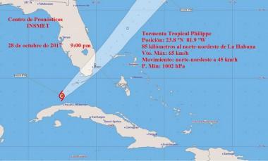 Cono de probabilidades de la tormenta tropical Philippe