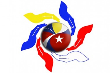 Banner alegórico a la solidaridad entre Cuba y Venezuela