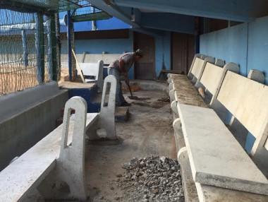 Obras de reparación del estadio Cándido González Morales