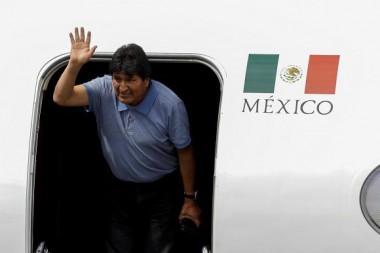 Evo Morales a su llegada a México