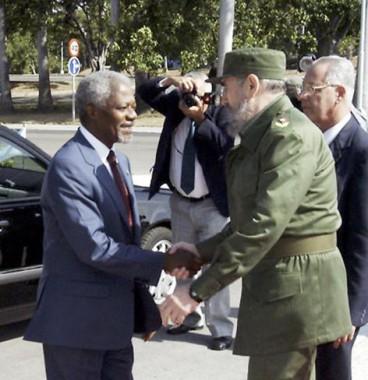 Recibimiento oficial al Secretario General de la ONU por Fidel