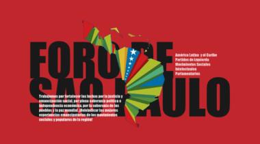 Banner alegórico al  XXV Foro de Sao Paulo