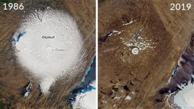 El glaciar Okjökull es el primero declarado 'muerto' en Islandia. Foto: NASA.