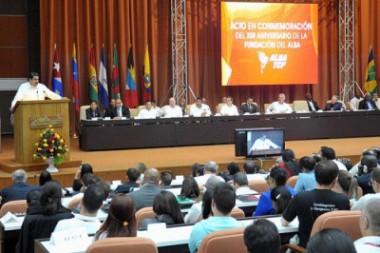 Nicolás Maduro Moros, presidente de la República Bolivariana de Venezuela, en el Acto en conmemoración del XIII aniversario de la fundación del ALBA