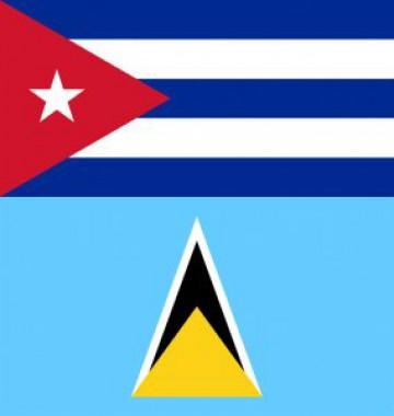 Banderas de Cuba y Santa Lucia