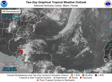 Tormenta subtropical Alberto se forma en el Mar Caribe