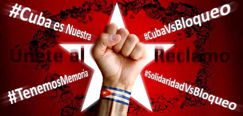Imagen alegórica al rechazo de Cuba contra el bloqueo